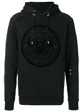 Balmain logo crest hoodie - Black