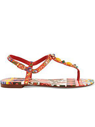 31ec9bf8d483 Dolce   Gabbana Dolce   Gabbana Woman Embellished Printed Leather Sandals  Red Size 35