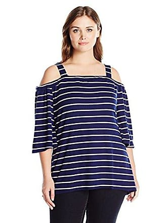 1142887aaeb39f Notations Womens Plus Size Stripe 3/4 Sleeve Off The Shoulder Top with  Straps High