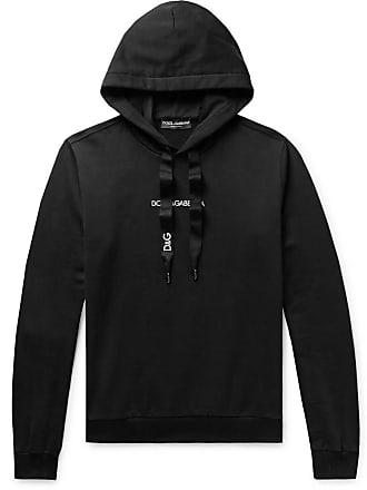 Dolce & Gabbana Slim-fit Logo-embroidered Loopback Cotton-jersey Hoodie - Black