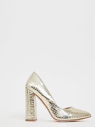 35d29fe935d121 Asos Walter dorsay - Chaussures pointure large effet croco à talon haut -  Champagne - Doré