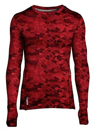 Duofold by Champion Varitherm Mens Brushed Back Print Baselayer Crew Team Red Scarlet Faster Asteroid Camo S