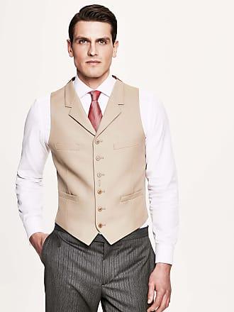 Hackett Mens Wool Single Breasted Morning Waistcoat | Size 38Regular | Ecru Beige