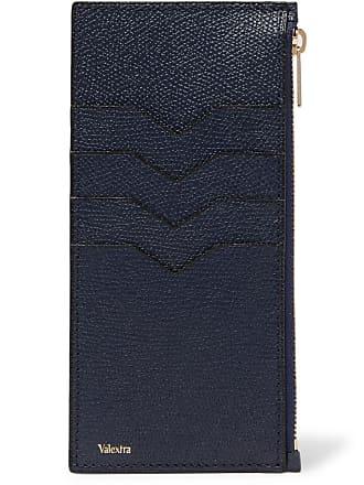 Valextra Pebble-grain Leather Zipped Cardholder - Navy
