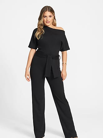 Alloy Apparel Tall Short Sleeve Off The Shoulder Jumpsuit Black Size XXL/37