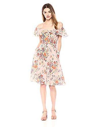 Rebecca Taylor Womens Sleeveless Marlena Ruffle Dress, Dusty Rose Combo, 8