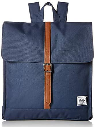 Herschel City Mid-Volume Backpack, Navy/Tan Synthetic Leather, One Size