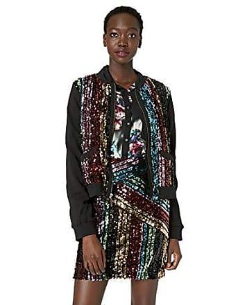 Nicole Miller Womens Sequin Bomber Jacket, black/multi-00206, Medium