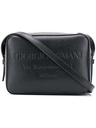 Giorgio Armani embossed logo shoulder bag - Preto