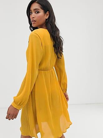 Unique21 Unique21 pleated applique dress-Yellow