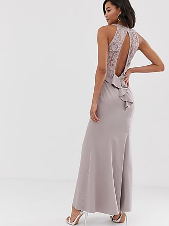 ef17734b439 Little Mistress ruffle detail and exposed back 2 in 1 sheath maxi dress -  Grey