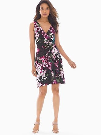 Soma Adrianna Papell Fit and Flare Dress Black Multi, Size 14
