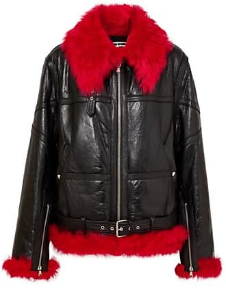 McQ by Alexander McQueen Oversized Shearling-trimmed Textured-leather Jacket - Black