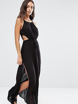 Akasa Exclusive keyhole cut out beach maxi dress in black - Black
