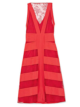 119b8dbc Valentino Red Womens Lace And Pleated Silk Midi Dress - The Webster
