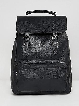 Asos Svart ryggsäck i skinn med ficka framtill och dubbla axelband - Svart 8c76e28af6840