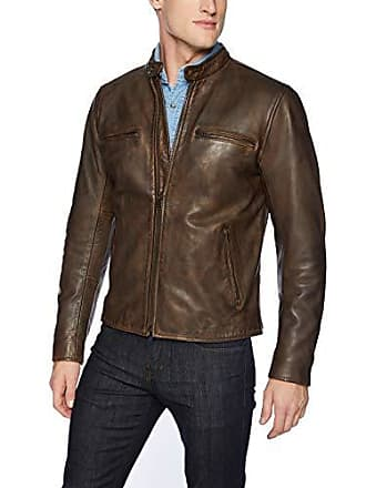 Lucky Brand Mens Zip Front Vintage Leather Jacket, Pine Cone, M