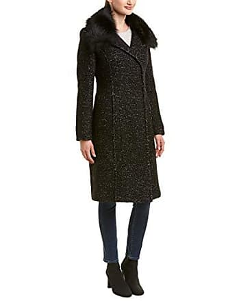 1cbaca6ada7a Elie Tahari Womens Anna Tailored Fitted Wool Coat with Real Fur Collar,  Black, XS