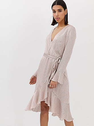 cbca305358 Missguided wrap front dress with frill in pink stripe