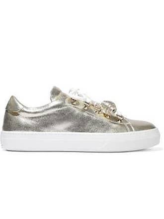 Tod's Tods Woman Sportivo Xk Metallic Cracked-leather Sneakers Gold Size 35.5