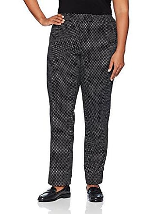 Anne Klein Womens Size Plus Cotton Pique Pant, Black/White, 20W