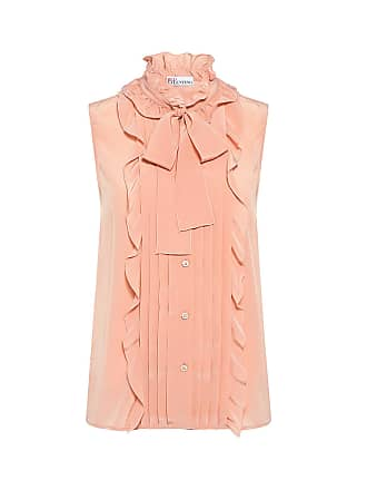 Red Valentino Ruffled Tie-Neck Blouse Peach_377