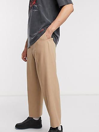 Reclaimed Vintage wide leg trousers in camel-Brown