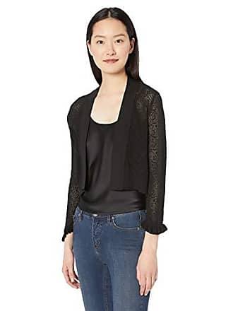 Calvin Klein Womens Long Sleeve Open Front Mesh Shrug, Black, S