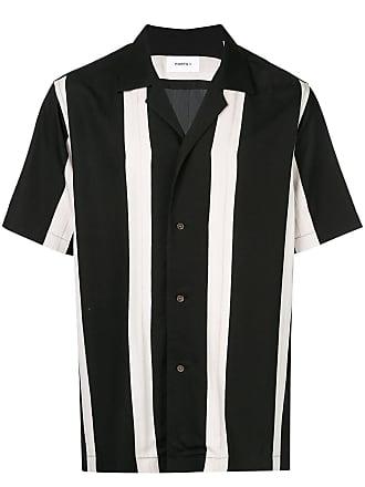 Ports V Camisa listrada com botões - Preto