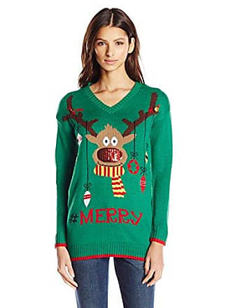 Allison Brittney Womens Rudolph with Sequin Nose V-Neck Ugly Christmas Sweater, Green, Large