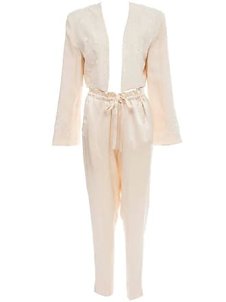 88aef0fccc4 DKNY Cream Silk Embroidered Pant Suit, Circa 1980s