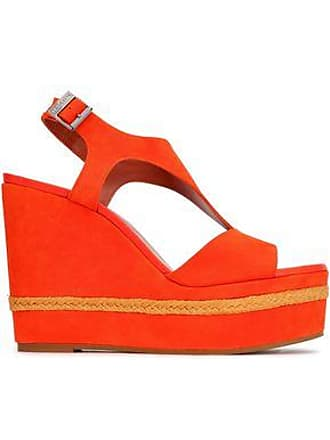 ab68225658ac2 Missoni Missoni Woman Jute-trimmed Suede Wedge Slingback Sandals Bright  Orange Size 38