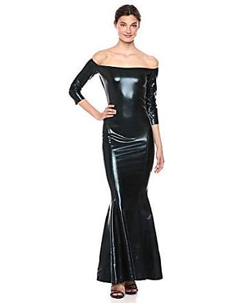 Norma Kamali Womens Off Shoulder Fishtail Gown, Black Foil, M