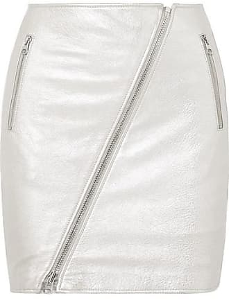 Current Elliott The Belen Metallic Textured-leather Mini Skirt - Silver