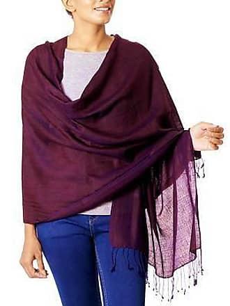Novica Silk and wool reversible shawl, Maroon Orchid - Reversible Silk and Wool Wrap Hand Loomed Shawl India