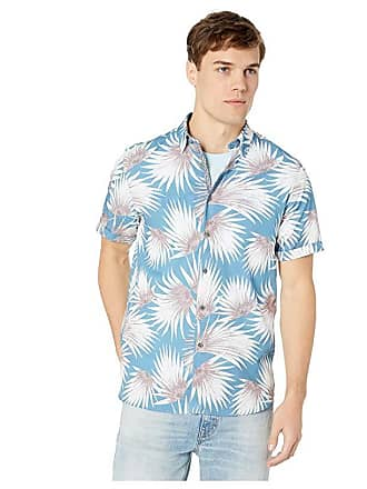Ted Baker Hedgeog Short Sleeve Palm Print Shirt (Blue) Mens Clothing