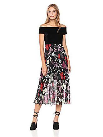 27a2646de35 Donna Morgan Womens Off Shoulder Maxi Dress with Pleated Skirt, Black/Dragonfruit  Fruit Pink