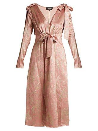 Rochas Bow Shoulder Floral Jacquard Midi Dress - Womens - Pink Gold