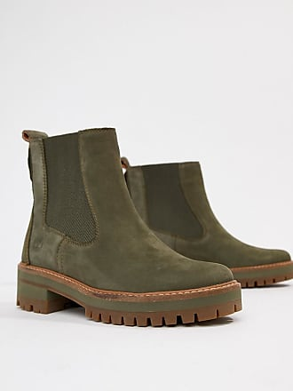 a0b0197001ea1a Timberland Courmayeur Valley - Leder-Ankle-Boots im Chelsea-Stil in Olive -