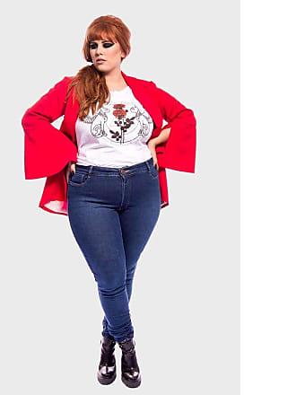 Vintage & Cats Calça Jeans Basic Super Skinny com Lavagem Plus Size Azul-58