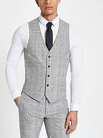 River Island Mens Light grey textured check suit vest