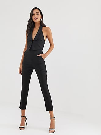 be87e253ae3e Lavish Alice double layer tuxedo jumpsuit with satin lapel in black