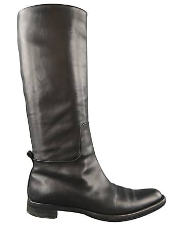 8fd812953789 Jil Sander Size 9.5 Black Leather Pointed Toe Knee High Riding Boots