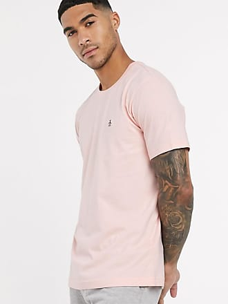 Original Penguin T-Shirt mit Logostickerei in Rosa