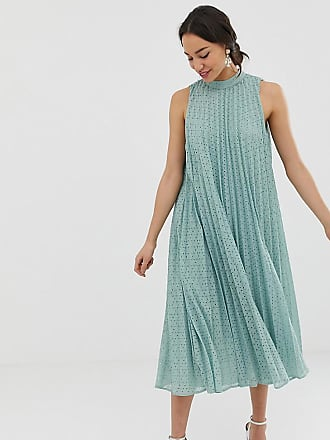 Asos Tall ASOS DESIGN Tall high neck pleated broderie midi swing dress - Green