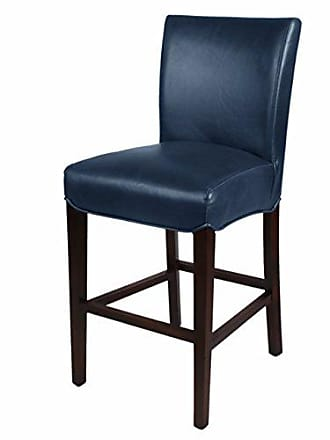 New Pacific Direct Milton Bonded Leather Counter Stool 26,Brown Legs,Vintage Blue,Fully Assembled