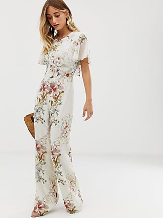 Hope & Ivy open back frilly jumpsuit in all over floral print - Multi