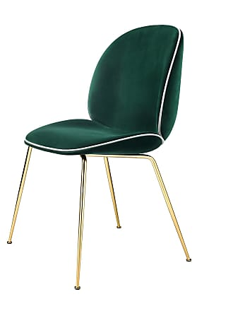 GUBI Beetle Chair Samtpolster und Gestell in Messing - dunkelgrün/Samt Velluto G075/787/Biese in Luce 53/ Gestell Messing