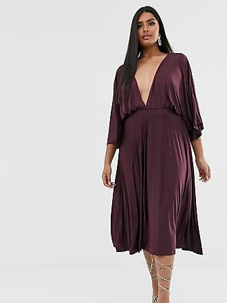 19ff637360 Asos Curve ASOS DESIGN Curve Exclusive Pleated Slinky Kimono Midi Dress