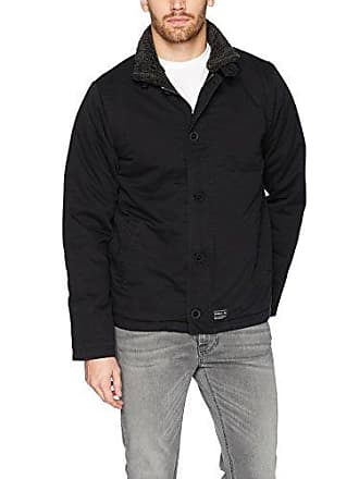 O'Neill Mens Front Zip Sherpa Lined Jacket, Black/Burnside, XL
